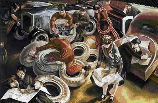 The Garage by Stanley Spencer